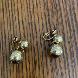 Vintage gold ball dangle clip on earrings